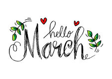 Hello March lettering. With heart and floral Vector Illustration