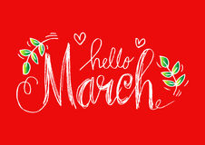 Hello March lettering Royalty Free Stock Images