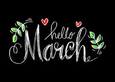 Hello March lettering. With heart and floral Stock Images