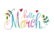 Hello March lettering. With heart and floral Stock Photography