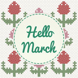 Hello March lettering with tulips, imitation of cross-stitch. Vector illustration royalty free illustration