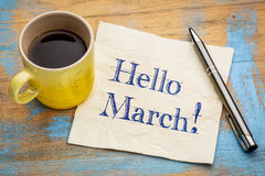 Hello March on napkin Stock Image