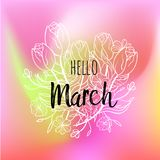 Hello March poster with tulips and flowers. Motivational print for calendar, glider, invitation cards, brochures. Hello March poster with tulips and flowers Royalty Free Stock Images