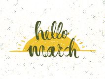 Hello March. Solar frame with text. Romantic greeting card. Spring time formulation with a hand drawn on white background. Vector Stock Photo