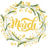 Hello March spring lettering. Elements for invitations, posters, greeting cards Royalty Free Stock Image
