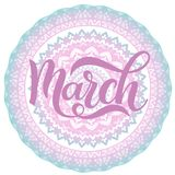 Hello March spring lettering. Elements for invitations, posters, greeting cards Royalty Free Stock Photos