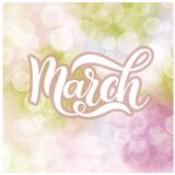 Hello March spring lettering. Elements for invitations, posters, greeting cards Royalty Free Stock Photography