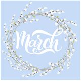 Hello March spring lettering. Elements for invitations, posters, greeting cards Royalty Free Stock Photo