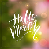 Hello march text at green and pink blurred background. Spring greetings. Inspirational design for social media. Hello march text at green and pink blurred royalty free illustration
