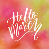 Hello march text at green and pink watercolor background. Spring greetings. Inspirational design for social media. Hello march text at green and pink watercolor royalty free illustration