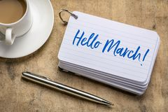 Free Hello March Text On Index Card Stock Image - 139499311