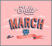 Hello march typographic design. stock illustration