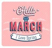 Hello march typographic design. Vector illustration Stock Photos