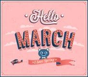 Hello marscherar typografisk design. Royaltyfri Fotografi