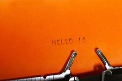 Hello maskinskrivning Arkivbild