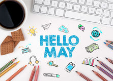 Hello May, Business concept. White office desk Stock Image