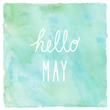 Hello May on green and blue on watercolor background.  Stock Photography