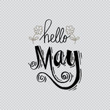 Hello May. Hand lettering calligraphy royalty free illustration