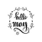 Hello May. Hand Lettering Inscription royalty free illustration