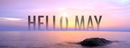 Hello May with nice seaview royalty free stock photography