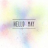 Hello May text on pastel spray paint background Stock Images