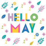 Hello may. Trendy geometric font. Text, foliage and flowers isolated on a white background. Memphis style royalty free illustration