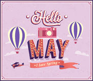 Hello may typographic design. Stock Photo