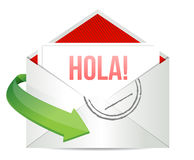 Hello message on an envelope written in Spanish Royalty Free Stock Photography