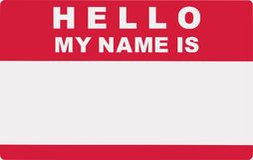 hello Meu nome é Etiqueta da etiqueta ilustração stock