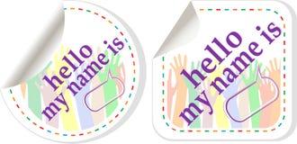 Hello is mijn naam de stickerreeks van kleurentekens Stock Foto's