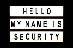 Hello mijn naam is veiligheid hangend lichte doos stock foto