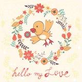 Hello mitt förälskelsekort med fågeln Royaltyfria Bilder