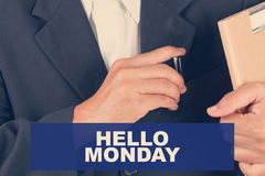 Hello monday day quotes - Business man background. Retro filter stock images