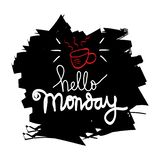 Hello Monday greeting card. With grunge background Vector Illustration