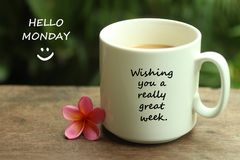Hello Monday greetings with a smile face emoticon - Wishing you a really great week.  With white mug of coffee and notes on it.