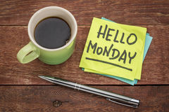 Hello Monday on sticky note Royalty Free Stock Image