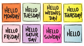 Hello Monday, Tuesday, Wednesday, ... Sunday - isolated collection of sticky notes with handwriting in black ink royalty free stock images