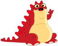 Hello monster. Cute red monster waving hello Stock Photo