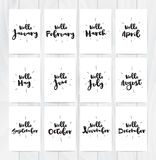 Hello month 12 cards. Hand drawn design, calligraphy. Vector photo overlay. Black on white background. Useable for cards. Hello cards for all year. Black and Royalty Free Stock Photos