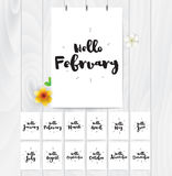 Hello month 12 cards. Hand drawn design, calligraphy. Vector photo overlay. Black on white background. Useable for cards. Hello cards for all year. Black and Stock Image