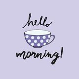 Hello morning. Vector cute illustration Royalty Free Stock Image