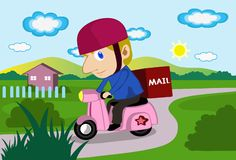 Hello Mr. Postman!. An image of a mailman driving a scooter to delivery mail Stock Photos