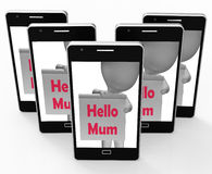 Hello Mum Sign Means Greetings To Mother Stock Photos