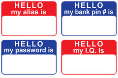 Hello my alias is. Nametags no one would wear, highlighting personal info that is often revealed online Royalty Free Stock Photography