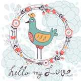 Hello my love card with cute funny bird Stock Photos