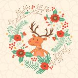 Hello my love card with deer Stock Photography