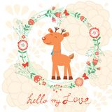 Hello my love card with deer Royalty Free Stock Photo