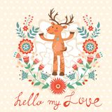 Hello my love card with deer Royalty Free Stock Photography