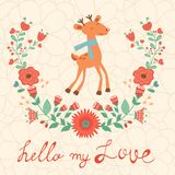 Hello my love card with deer Stock Photos