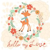 Hello my love card with deer Stock Images
